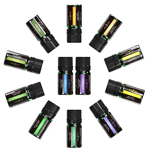 Essential Oils Set, Anjou Top 12 100 Pure Aromatherapy Essential Oil Kit, 12 x 5 ml (Lavender, Sweet Orange, Peppermint, Tea Tree, Eucalyptus, Lemongrass, Bergamot, Frankincense etc.)