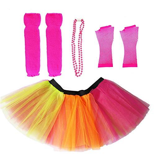 Dreamdanceworks 80s Fancy Costume Set - TUTU & LEG WARMERS & FISHNET GLOVES & BEADS (Rainbow) OneSize]()