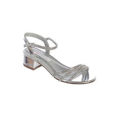 c8a73047268 Girls Silver Sparkle Rhinestone Strap Buckle Block Heel Sandals 1 Kids