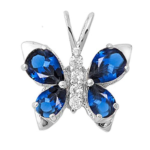 Simulated Blue Sapphire & Cubic Zirconia Butterfly .925 Sterling Silver Pendant by Oxford Diamond Co
