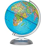 """Illuminated World Globe for Kids with Stand – Built-in LED Light Illuminates for Night View – Colorful, Easy-Read Labels of Continents, Countries, Capitals & Natural Wonders, 8"""""""