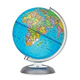 Illuminated World Globe for Kids with Stand – Built-in LED Light Illuminates for Night View – Colorful, Easy-Read Labels of Continents, Countries, Capitals & Natural Wonders, 8""