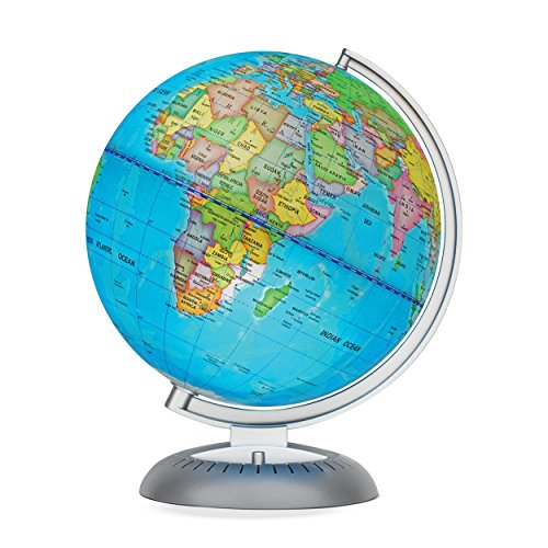 Illuminated World Globe for Kids with Stand – Built-in LED Light Illuminates for Night View – Colorful,...