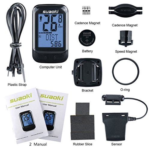 SUAOKI Ciclocomputador inalámbrico, Bicicleta Ordenador inalámbrico Velocímetro cuentakilómetros Bicicleta, retroiluminación LED con Sensor de Movimiento ...