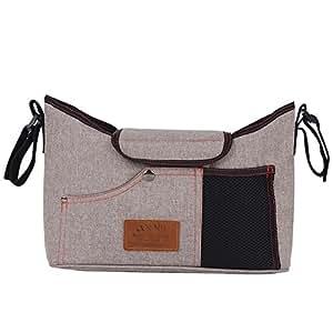 Stroller Bag, Storage Bag Multi-functional Baby Stroller Organizer Pushchair Bag Large Capacity Hanging Bags (Khaki)