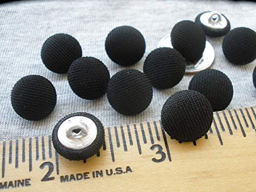11MM Tuxedo Buttons Black Knit Fabric Cover Metal Shank 7/16