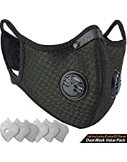 BASE CAMP Dust Breathing Mask Activated Carbon Dustproof Mask with Extra Carbon N99 Filters for Pollen Allergy Woodworking Mowing Running Cycling Outdoor Activities (Dark Green)