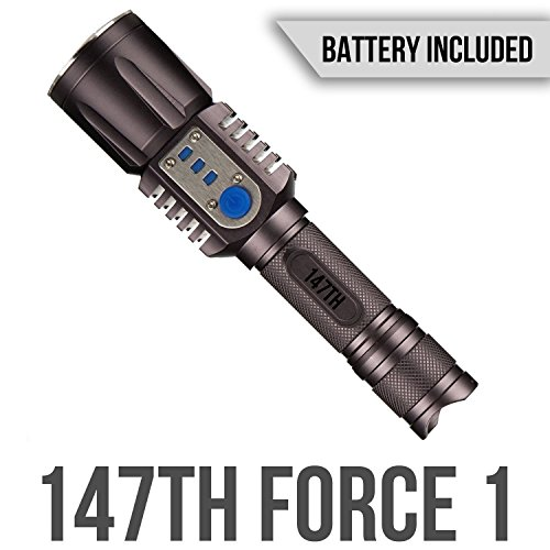 147th Force 1 - Tactical Flashlight with Power Bank - Made with Reinforced Aluminum - 1000 Lumens LED Bright White 2200mAH Portable USB Rechargable - For Emergency and Camping (Battery Included)
