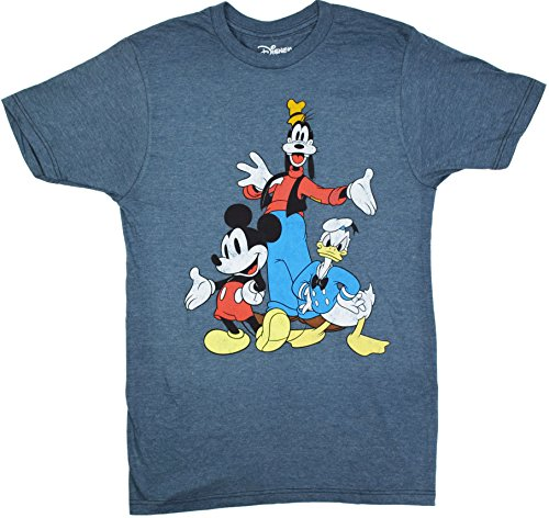 Disney Big Three Trio Mickey Mouse Donald Duck Goofy T-shirt (Extra Large, Heather Navy) (Disney Clothing For Adults)