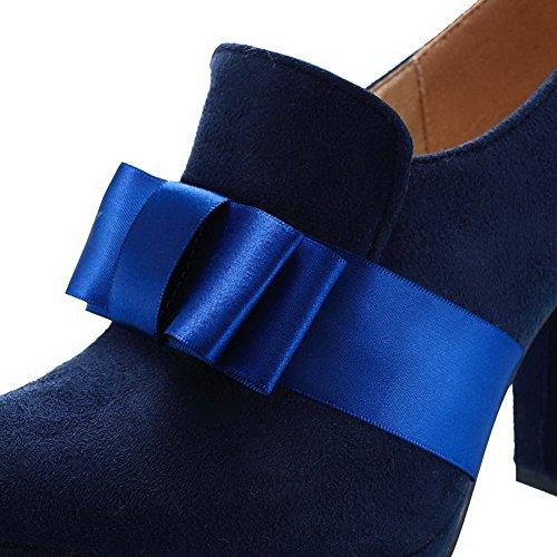 Agoolar Unie Talon Haut Femme Bleu Tire Chaussures Couleur À Légeres Dépolissement Rond qCxpqHrFw