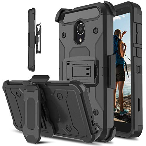 Alcatel 1X Evolve Case, Alcatel Ideal Xtra Case, lovpec Rugged Swivel Belt Clip [Heavy Duty Protection] Kickstand Hybrid Full Body Protective Shockproof Phone Cover Case for Alcatel TCL LX (Black)