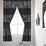 Cheap Popular Bath Sinatra Sequin Window Curtain with Tiebacks, Black, 36×54 Inches