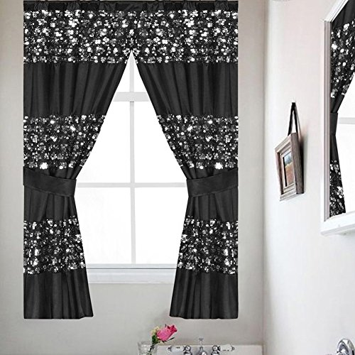 Popular Bath Sinatra Sequin Window Curtain with Tiebacks, Black, 36x54 Inches (Sequins Bath Popular)