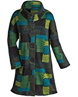Women's Bright Green And Blue Patches Knit Duster Sweater