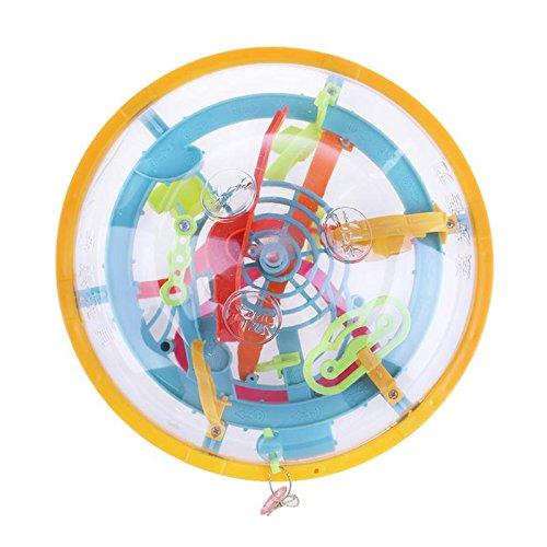 (GreenSun TM Magic 3D Spherical Maze Ball Balance Logic Ability Training Game Toy Educational Balancing Puzzle Maze Ball for Kids Gift)