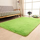 Diaidi Super Soft Area Rugs Modern Shag Green Carpet Living Room Carpet Bedroom Rug Washable Rugs Solid Home Decorator Floor Rug And Carpets 4- Feet By 5- Feet (Green)