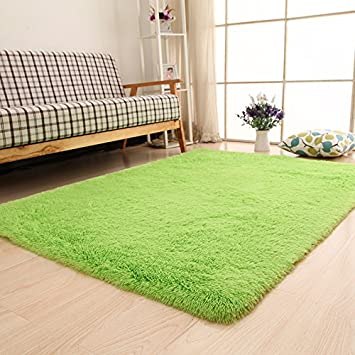Diaidi Super Soft Area Rugs Modern Shag Green Carpet Living ...