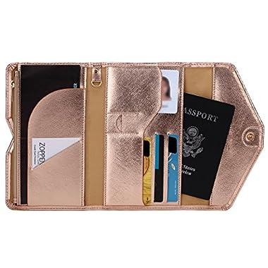 Zoppen Mulit-purpose Rfid Blocking Travel Passport Wallet (Ver.4) Trifold Document Organizer Holder, Gold