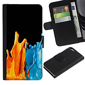 KingStore / Leather Etui en cuir / Apple Iphone 5 / 5S / Pinte salpica Naranja Azul Arte Moderno