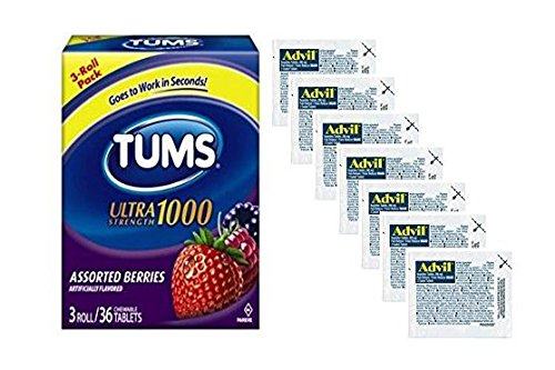 Tums Individual Packets Rolls and Advil Travel Medicine Packets - Relief for Menstrual Cramps, Heartburn, Indigestion, Headaches and Pain | Bundle Set of 3 Rolls Chewable Berry Tum Bites 7 Packets