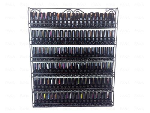 Pana Black Nail Polish Display Organizer Metal Wall Mounted Rack - Fit up to 100 Nail Polish Bottles - For Home Salon Business Spa etc.
