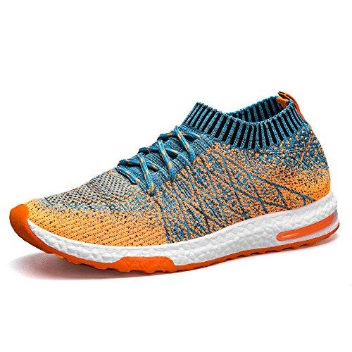 TUCSSON Uomo Scarpe da Ginnastica Basse Sportive Trainers Gym Outdoor Fitness Tennis Running Multisport Flyknit Sneakers Arancione