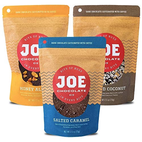 Joe Chocolates Original Variety Pack Caffeinated Dark Chocolate Espresso Bark (Honey Almond, Salted Caramel, Midnight Coconut) (3-Pack) ()