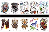 GGSELL GGSELL 10pcs tattoo tiger tattoos in one packages,including tiger,skull,wolf,leopard,deer,horse,dragon with flowers,flower,butterfly,leaves,etc.