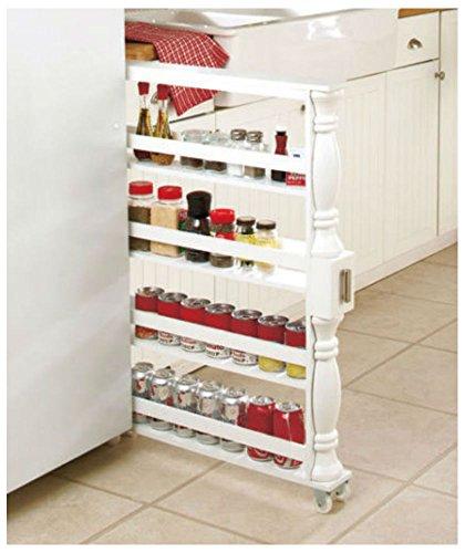 ROLLING SLIM CAN & SPICE RACK HOLDER Kitchen Storage Cabinet Shelf -