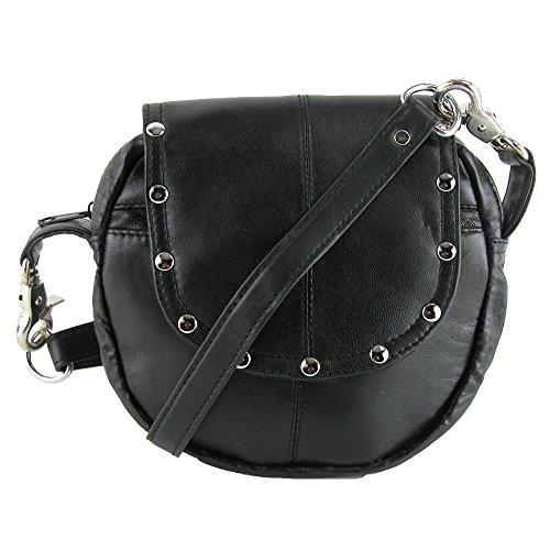CTM Leather Studded Biker Belt Waistpack, Black (Metal Open Studded Leather Belt)