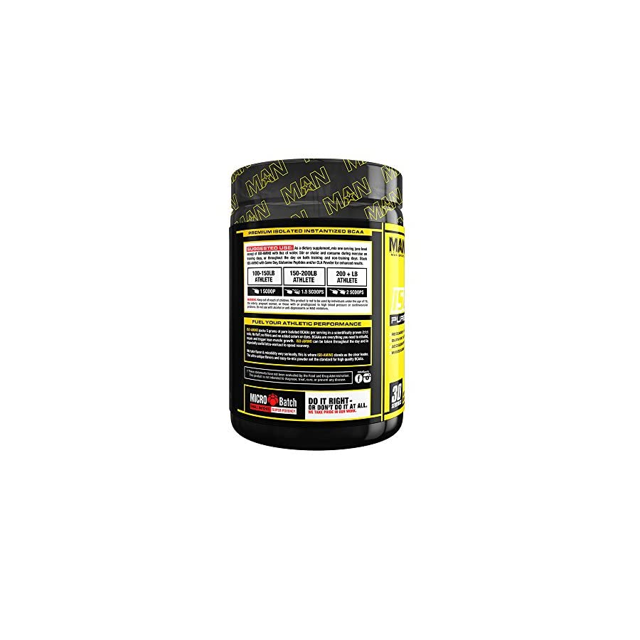 MAN Sports ISO AMINO BCAA Amino Acid Powder, Dorks, 30 Servings, 210 Grams