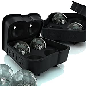 Chillz Ice Ball Maker - 2 Black Flexible Silicone Ice Trays - Mold 8 X 4.5cm Round Ice Ball Spheres (2 Pack)