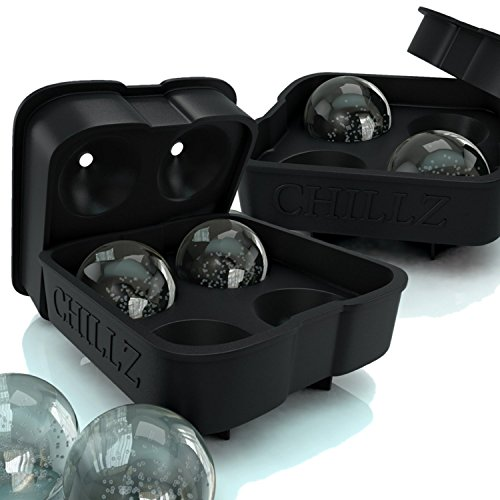 Chillz Ice Ball Maker - 2 Black Flexible Silicone Ice Trays - Mold 8 X 4.5cm Round Ice Ball Spheres (2 - Ice Black Glasses