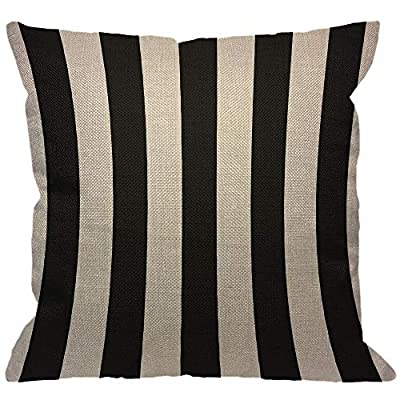 "HGOD DESIGNS Stripes Throw Pillow Cover,Wide Lines Texture Modern Abstract Geometric Striped Monochrome Black White Bands Decorative Pillow Cases Linen Cushion Covers for Home Sofa Couch 18x18 inch - Stripes pillow cover dimensions: 18"" x 18"" inch (1-2cm deviation).Please ensure your pillow is suitable for this size.it is easy to install. Stripes pillowcase made of durable high quality cotton linen Burlap material,no peculiar smell,comfortable,breathable,durable and stylish. Stripes decorative pillows pattern is print on the both side.it will decorate your house well,Brings Luxury Look To Your Home Decorative, Living Rooms, Sofa, Couch, Chair, Bedrooms, Offices,Car - patio, outdoor-throw-pillows, outdoor-decor - 51Cgm2C%2BmhL. SS400  -"