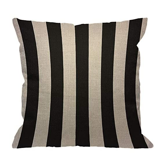 """HGOD DESIGNS Stripes Throw Pillow Cover,Wide Lines Texture Modern Abstract Geometric Striped Monochrome Black White Bands Decorative Pillow Cases Linen Cushion Covers for Home Sofa Couch 18x18 inch - Stripes pillow cover dimensions: 18"""" x 18"""" inch (1-2cm deviation).Please ensure your pillow is suitable for this size.it is easy to install. Stripes pillowcase made of durable high quality cotton linen Burlap material,no peculiar smell,comfortable,breathable,durable and stylish. Stripes decorative pillows pattern is print on the both side.it will decorate your house well,Brings Luxury Look To Your Home Decorative, Living Rooms, Sofa, Couch, Chair, Bedrooms, Offices,Car - patio, outdoor-throw-pillows, outdoor-decor - 51Cgm2C%2BmhL. SS570  -"""