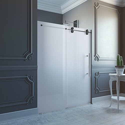 VIGO Elan 56 to 60-in. Frameless Sliding Shower Door  with .375-in. Frosted Glass and Stainless Steel Hardware (Right-Sided Door) by VIGO