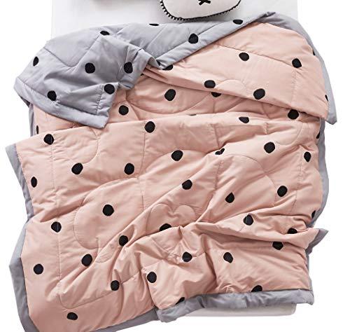 - J-pinno Polka Dot Quilt Blanket Bedding Coverlet, 100% Long Staple Sateen Cotton Comforter Bedspread Throw Blanket for Kid's Bedroom Decoration Gift (14, Toddler 47