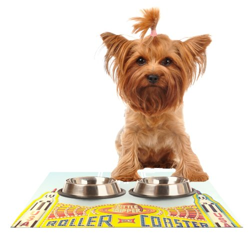 KESS InHouse Libertad Leal Life is a Rollercoaster  Feeding Mat for Pet Bowl, 18 by 13-Inch