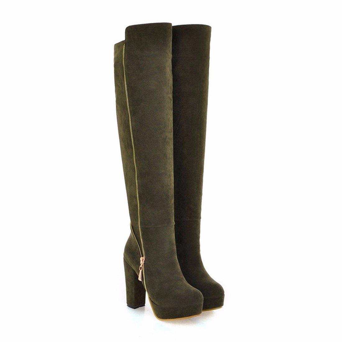 Damen Winter Stiefel Stiefel Stiefel mit Army hohen Absätzen Dick unten Army mit green 437a10