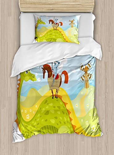 - Ambesonne Fantasy Duvet Cover Set Twin Size, Knight Don Quixote with Horse on Dragon Valley Medieval Fairytale Image, Decorative 2 Piece Bedding Set with 1 Pillow Sham, Apple Green Sky Blue