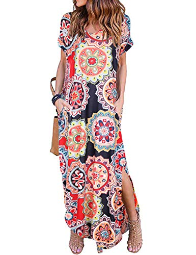 AKEWEI Women Maxi Dresses Summer V Neck Short Sleeve Long Dress with Pocket Loose Beach Skirt Cover Up Slits (XX-Large, Floral Multicolored)