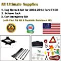 123Pcs Auto Emergency Kit with First Aid Kit and 1Pc Spare Tire Tool Kit with 2-Ton Scissor Jack & Lug Wrench Kit for 2004-2014 Ford F-150 F150, A Real All-In One Pack.