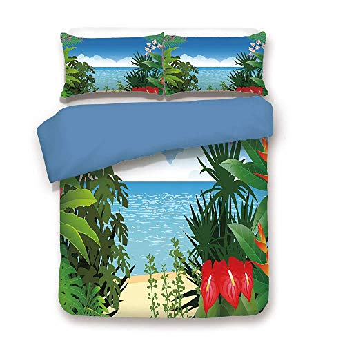 ALLMILL Duvet Cover Set,Blue Back,Leaf,Beach Theme Island Jungle Sea Shore Ocean View with Side Flowers Crepe Gingers Print,Multicolor,Decorative 3 Pcs Bedding Set by 2 Pillow Shams,Full Size
