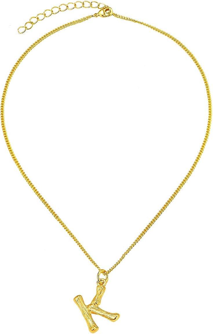 ChainsPro Alfabeto Choker de Mujeres, 26 Letras Iniciales de Bambú, Collar Cobre/Latón Chapado en Oro Amarillo, Gargantilla Moderna con Cadena Ajustable 14 + 2 Pulgadas