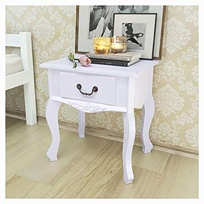 HomyDelight Nightstand, Bedside Cabinets 2 pcs MDF White