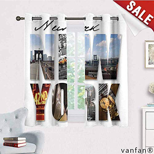 LQQBSTORAGE NYC Decor,Blackout Curtains 2 Panels,New York City Themed Collage Featuring with Different Areas of The Big Apple Manhattan Scenery,Curtains for Party Decoration,Multi