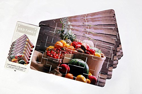 HM Cover's Elegant Set of 12 Rectangular and Square shaped Place mats and Coasters with Fruit printed designs, Non-slip Washable PVC Table Mats