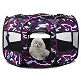 Bestmemories Anti-Bite Pet Playpen Cage, 8-Side Mesh Puppy Dog Cat Exercise Kennel Crates House, Portable, Foldable, Waterproof Pen Kennel Tent with Zipper Door for Traveling Camping Outdoor Indoor