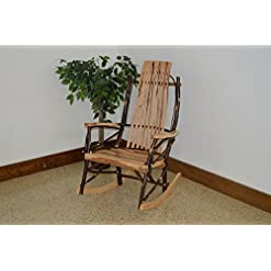 Farmhouse Accent Chairs A & L Furniture Hickory 9-Slat Rocker Chair, Rustic Hickory farmhouse accent chairs
