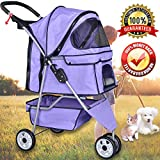 Pet Stroller Jogger Cat Dog Cage 3 Wheels Stroller Travel Folding Carrier Strolling Cart with Cup Holders and Removable Liner 35Lbs Capacity Large Doggie Stroller for Small-Medium Dogs - Cats